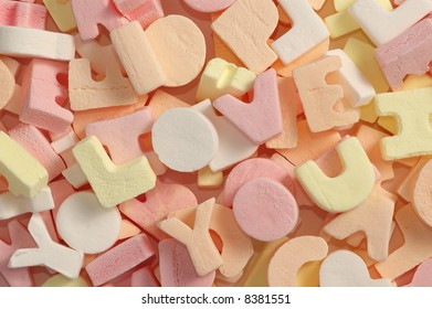 Alphabet sweets spelling 'I Love You'