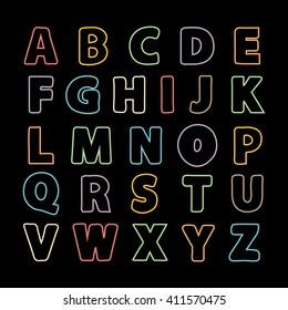 Alphabet thin line .Alphabet . alphabet. Alphabet isolated. Alphabet flat style. purple Color Alphabet. font isolated . Type.Hand drawn