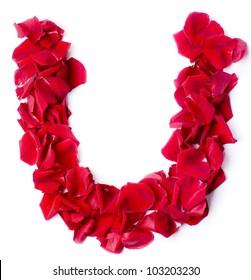 Alphabet U Made From Red Petals Rose