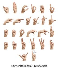 The alphabet using American Sign Language