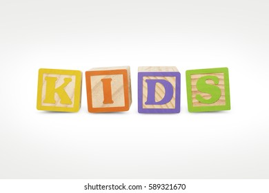 Alphabet Wooden Blocks Spelling Kids (with clipping path)