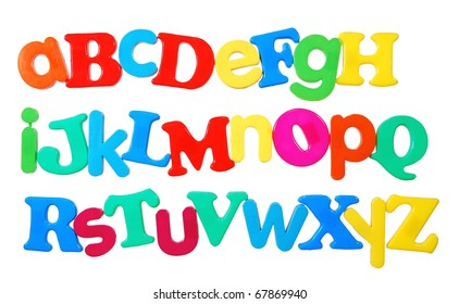 alphabet written in a fun colorful mix of uppercase and lowercase plastic letters, isolated on white