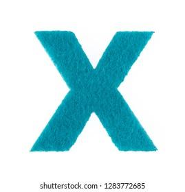Alphabet X is made of felt isolated on white background.