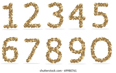 alphabets number paper ball. isolated on a white background