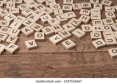 alphabets on wooden cubes as a background