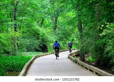 ALPHARETTA, GEORGIA - May 13, 2018: The Big Creek Greenway is over 20 miles of paved and board fitness trails spanning two counties north of Atlanta.