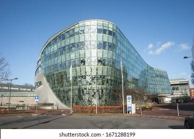Alphen aan den Rijn, Netherlands - March 12, 2020: Modern city or town hall of Alphen aan den Rijn, Holland.