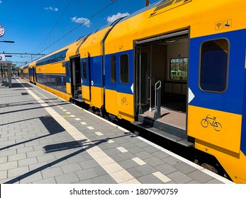 Alphen aan den rijn, Netherlands, 04-08-2020: A dutch intercity train waiting at the platform to leave from Alphen aan den Rijn station