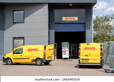 ALPHEN AN DEN RIJN, THE NETHERLANDS - JULY 9, 2019: DHL depot. DHL is a division of the German logistics company Deutsche Post AG providing international express mail services.