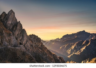 Alpi Apuane mountains and marble quarry view. Carrara, Tuscany, Italy, Europe.