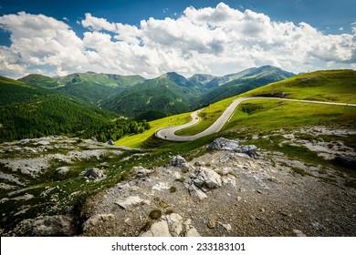 Alpina road at summer-Nockalmstrasse, Nockberge, Carinthia, Austria.