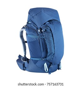 Alpine Backpack Isolated on White Background. Blue Trekking Rucksack. Travel Backpack. Climbing Bag. Bouldering Day Pack. Rope Bag
