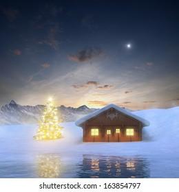 Alpine Cabin and illuminated Christmas Tree