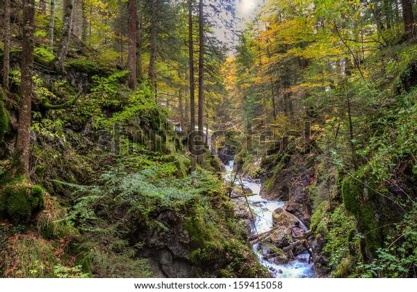 Alpine canyon in the beautiful autumn forest near Kessel Waterfall in Brandnertal valley, Voralberg, Austria, HDR