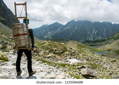Alpine carrier in the Slovakia High Tatras can bring goods to mountain cottage