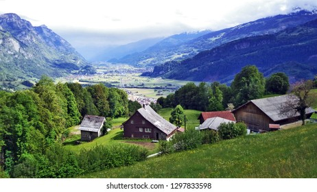 Alpine cattle farms and traditional architecture on the southern slopes of the Churfirsten mountain range - Canton of St. Gallen, Switzerland