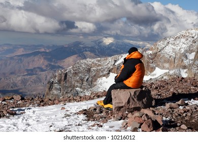 Alpine climber acclimating at camp two of Aconcagua