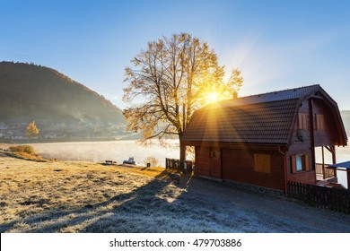 Alpine countryside, autumn sunrise landscape with wooden house at the lake Palcmanska Masa, Narodny park Slovensky Raj (National park Slovak paradise), Slovakia - Shutterstock ID 479703886