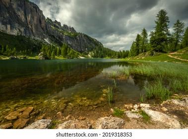 Alpine Federa lake, Dolomites Italy