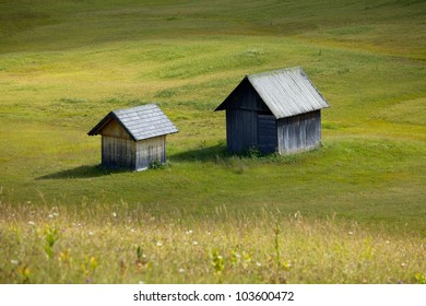 Alpine field with wooden huts