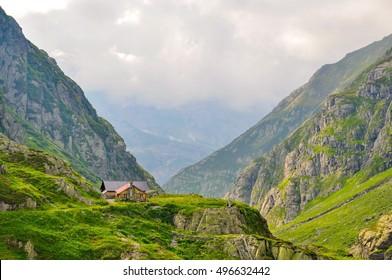 alpine house on the glacier mountains, switzerland alps