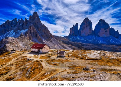 Alpine Hut Dreizihnenhutte next to  Mountain Drei Zinnen and Paternkofel in  Dolomites, Italy