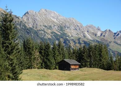 Alpine hut near Sonntag-Stein in Vorarlberg  - Shutterstock ID 1998983582