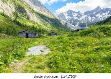 Alpine huts and alpine scene in the Zillertal Tyrol