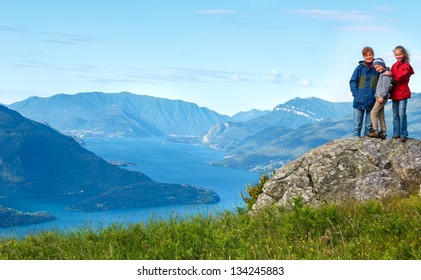 Alpine Lake Como summer  view from mountain top and family (Italy)