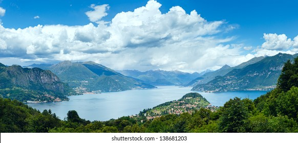 Alpine Lake Como summer  view from mountain top (Italy)