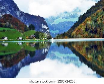 Alpine lake Klontalersee in Klontal valley and mountain range Glarus Alps - Canton of Glarus, Switzerland