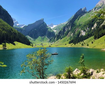 Alpine lake Seealpsee in the Alpstein mountain range and in the Appenzellerland region - Canton of Appenzell Innerrhoden (AI), Switzerland
