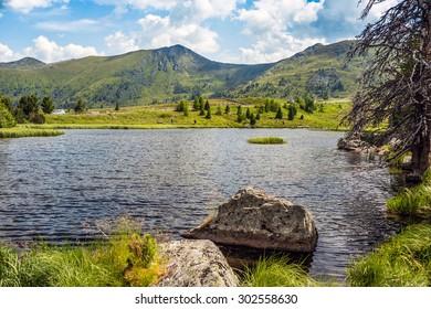 Alpine lake Windebensee in Carinthia, Nockalmstrasse, Austria