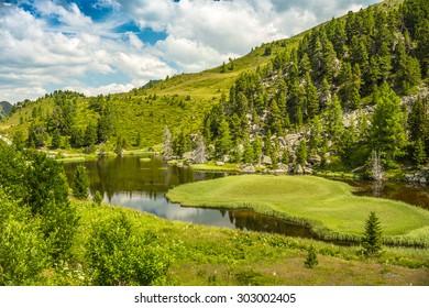 Alpine landscape, Lake Windebensee in Nockalmstrasse, Carinthia, Austria