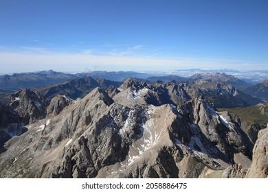 alpine landscape at Marmolada region at Dolomites, Italy