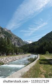 Alpine landscape next to Cogne village, Aosta valley, Italy.