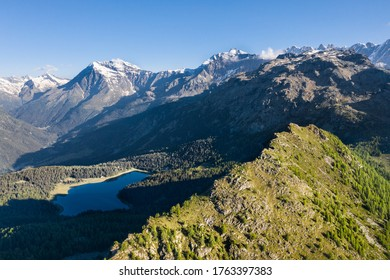 Alpine landscape, panoramic view from a top of the mountain.  Valley with lake and forest in Valtellina. Lake Palù, Valmalenco