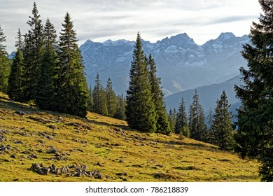 Alpine landscape and peaks of the bavarian and tyrolean Karwendel mountains in late autumn, Alps, Europe