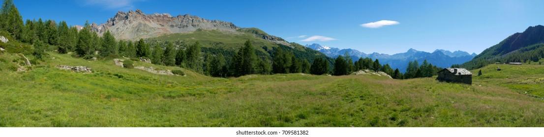 Alpine landscape in summer in Valmalenco, northern Italy