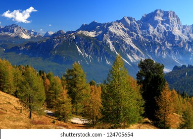 Alpine landscape in sunny day, Dolomite Alps, Italy