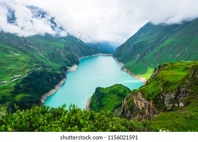 Alpine landscape with Wasserfallboden high mountain reservoir near Kaprun