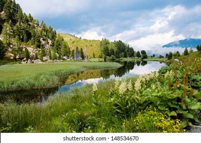 alpine landscape - Windebensee in Kaernten Nockalmstrasse Austria