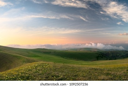 Alpine meadows of the Karachay-Cherkess Republic with green grass and flowers with a colored sky and clouds in the evening sunset in the spring