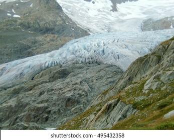 a alpine mountain glacier in the mountain of Switzerland,