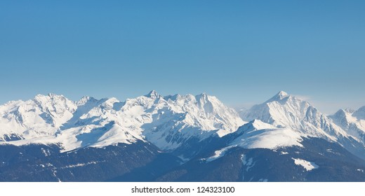 Alpine Mountain Peaks Panorama in South Tyrol, Italy.