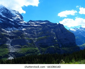 Alpine mountains range landscape near GRINDELWALD village in beauty Swiss ALPS in SWITZERLAND with snow covered peaks, grassy fields and clear blue sky in 2016 warm sunny summer day, Europe on July.