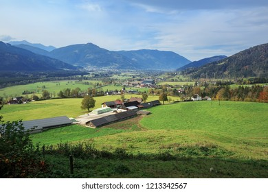 Alpine municipality surrounded by the Alps mountains on a sunny autumn day. Weng im Gesaeuse, state of Styria, Austria, Europe.