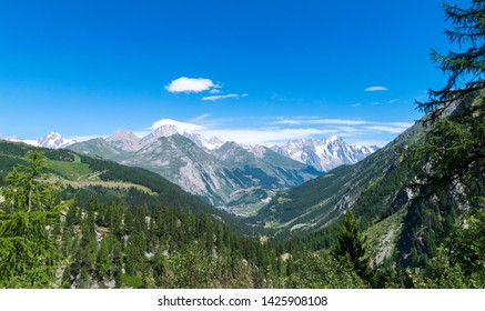 Alpine panorama landscape from  La Thuile mountains - Alps of Aosta Valley during summer season