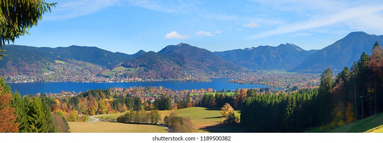 alpine panorama landscape and lookout above spa town bad wiessee, view to idyllic blue lake tegernsee, upper bavaria