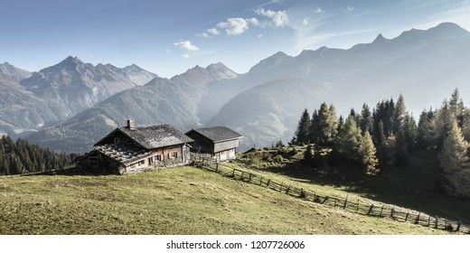 Alpine panorama with mountain huts in the Zillertal in Tyrol color reduced